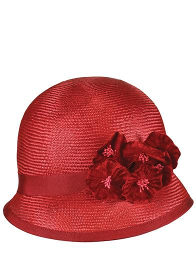 1920s Style Hats Louise Green Rosette Cloche $299.95 AT vintagedancer.com