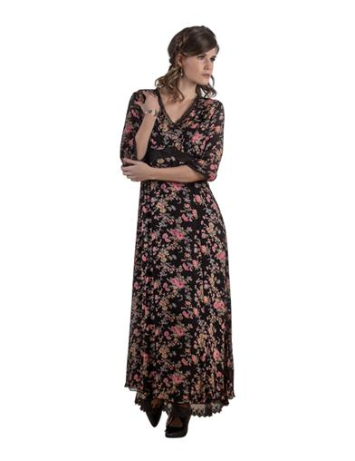 1920s Day Dresses, Tea Dresses, Mature Dresses with Sleeves April Cornell Raven Rose Dress Small $99.99 AT vintagedancer.com