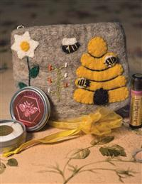 Bee Bar & Lip Butter In Felted Wool Pouch