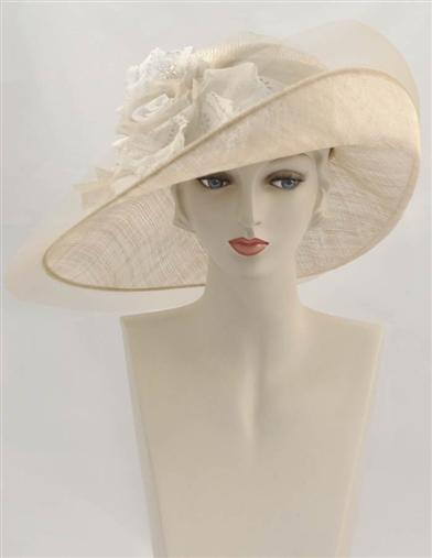 Edwardian Hats, Titanic Hats, Tea Party Hats Louise Green Constance Lace Cabbage Rose Hat $450.00 AT vintagedancer.com
