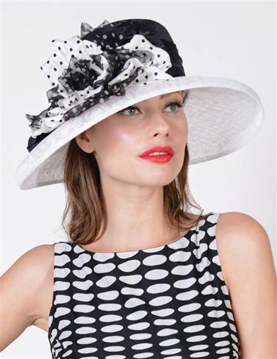 Louise Green Polka Dot Taffeta Hat