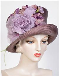 Louise Green Aubergine Rose Top Hat