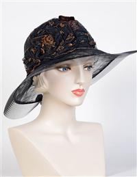 Louise Green Black & Copper Rosette Hat