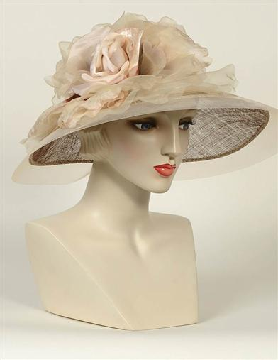 Edwardian Hats, Titanic Hats, Tea Party Hats Louise Green Champagne Organza Brim Hat $475.00 AT vintagedancer.com