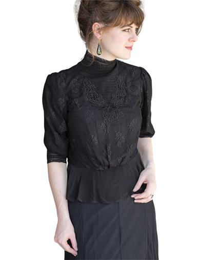 Steampunk Plus Size Clothing & Costumes Noir Lace Blouse $59.99 AT vintagedancer.com