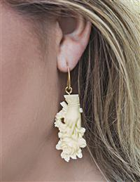 Rose In Hand Ivory Earrings