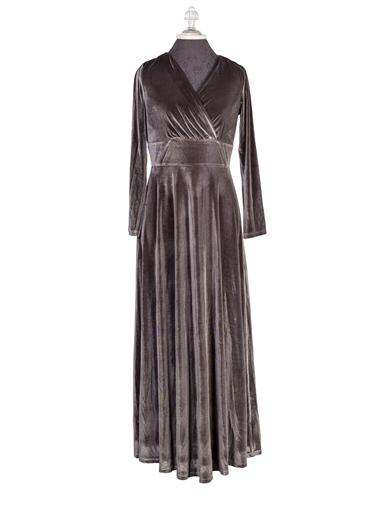 1940s Evening, Prom, Party, Formal, Ball Gowns Slate Velvet Gown Small $29.99 AT vintagedancer.com