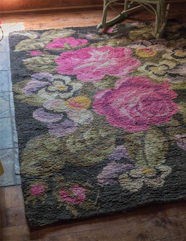 Hand knotted berber rug floral wool area rug for Wool berber area rug