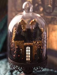 Lit Haunted House Cloche