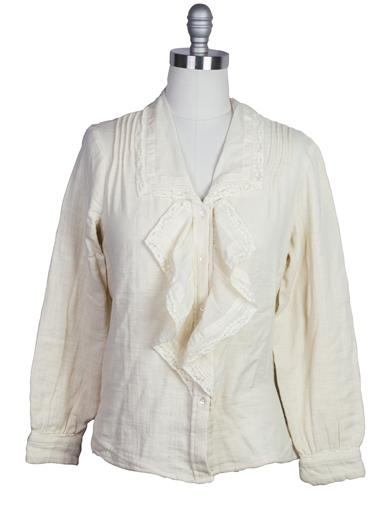 Edwardian Blouses | White & Black Lace Blouses & Sweaters Ruffle Blouse Collar Ecru Extra Large $79.95 AT vintagedancer.com