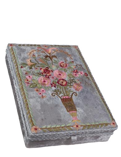 Embroidered Velvet Keepsake Box
