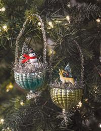 Winter Baskets Dresden Ornaments (Set Of 2)