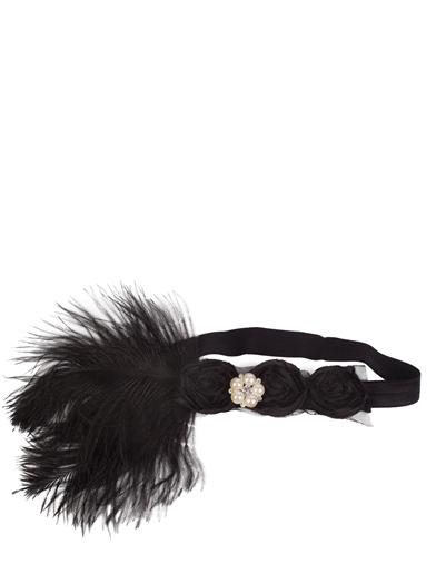 1920s Hairstyles History- Long Hair to Bobbed Hair Claire Style Headband With Ostrich Feather $49.95 AT vintagedancer.com
