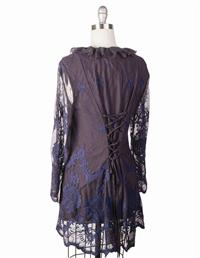 Blue Black Lace Corset Jacket