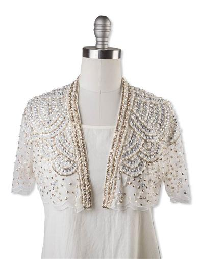 Victorian Jacket, Coat, Ladies Suits | Edwardian, 1910s, WW1 Ivory Beaded Capelet $79.95 AT vintagedancer.com