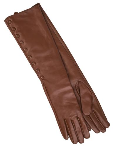 Chestnut Leather Button Gloves