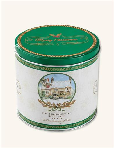 Christmas Cottage English Biscuits Tin