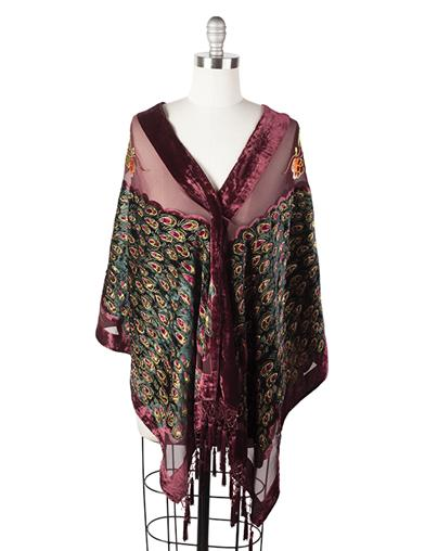 Shawls & Wraps | Vintage Lace & Fur Evening Scarves Merlot Peacock Wrap $79.95 AT vintagedancer.com
