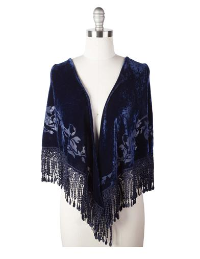 Velvet Brocade Shawl (Midnight Blue)