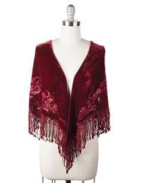 Velvet Brocade Shawl (Dark Crimson)
