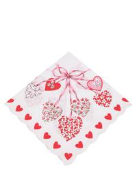 Floral Scalloped Hanky (Hearts And Streamers)