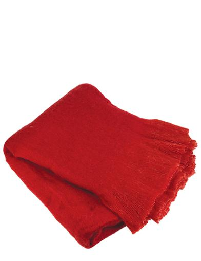 Cardinal Red Mohair Throw