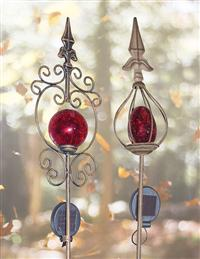 Ornate Red Solar Garden Stakes (Set Of 2)