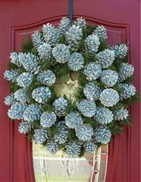 Silver Evergreen Pinecone Wreath
