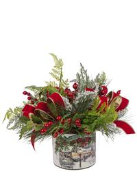 Berries On Snow Greenery Vase