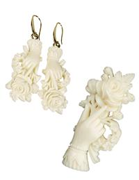 Rose In Hand Ivory Jewelry (Save On Set!)