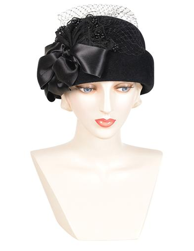 1940s Hats History Louise Green Silken Bow Bubble Cloche $329.95 AT vintagedancer.com