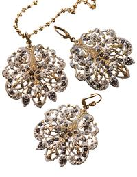 Victorian Lace Pendant & Earrings (Save On Set)