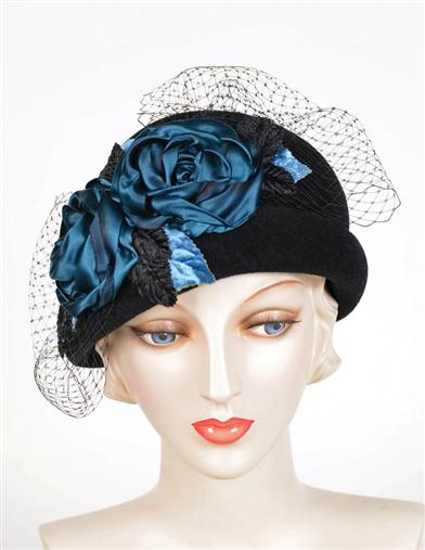 1920s Style Hats Louise Green Midnight Blooms Cloche $329.95 AT vintagedancer.com