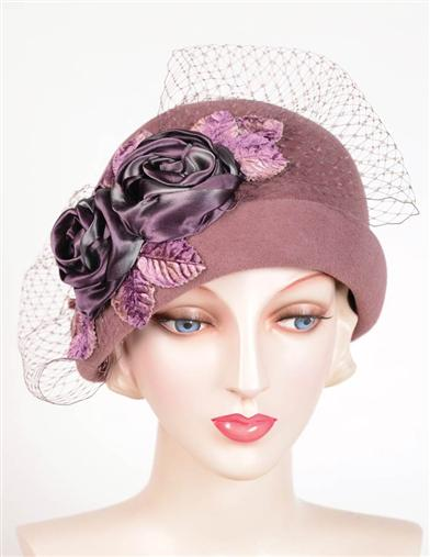 1920s Style Hats Louise Green Dusty Rose Veil Cloche $329.95 AT vintagedancer.com