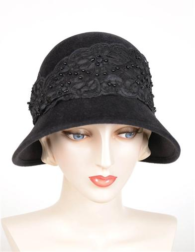 1920s Style Hats Louise Green Exquisite Charcoal Cloche $299.95 AT vintagedancer.com