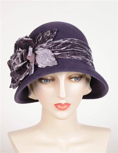 1920s Style Hats Louise Green Velour Eggplant Cloche $299.95 AT vintagedancer.com
