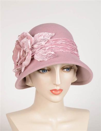 1920s Style Hats Louise Green Velour Rose Cloche $299.95 AT vintagedancer.com