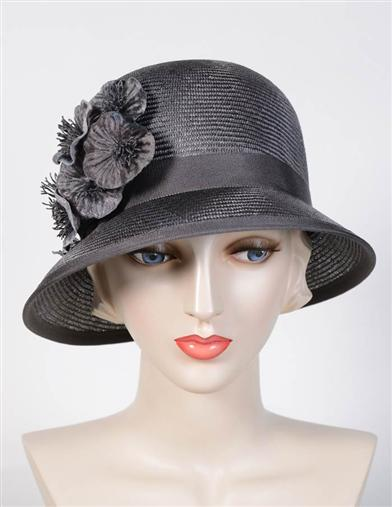 1920s Style Hats Louise Green Sadie Gray Hat $249.95 AT vintagedancer.com