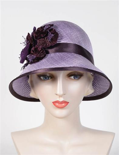 Louise Green Violet Floral Hat