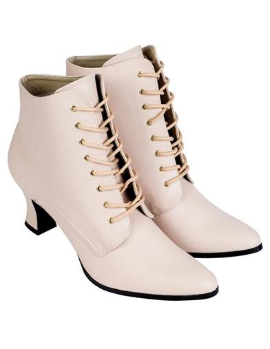 Steampunk Boots & Shoes, Heels & Flats Jo March Boots Cream $69.95 AT vintagedancer.com