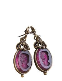 Amethyst Artemis Intaglio Earrings