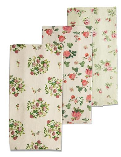 Victorian Floral Tea Towels (Set Of 3)