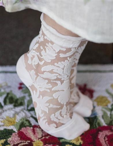 60s Style: How to Recreate the Outfits Floral Damask Ankle Socks $29.95 AT vintagedancer.com