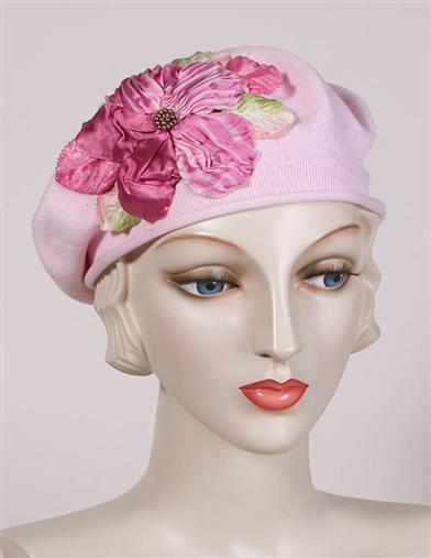 1930s Style Hats | 30s Ladies Hats Louise Green Spring Floral Beret $160.00 AT vintagedancer.com