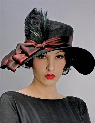 Victorian Style Hats, Bonnets, Caps, Patterns Louise Green Scarlet Boater $337.00 AT vintagedancer.com