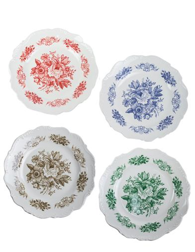 Melamine Scalloped Toile Plates (Set Of 4)