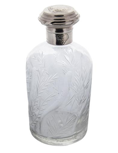 Floral Etched Glass Bottle