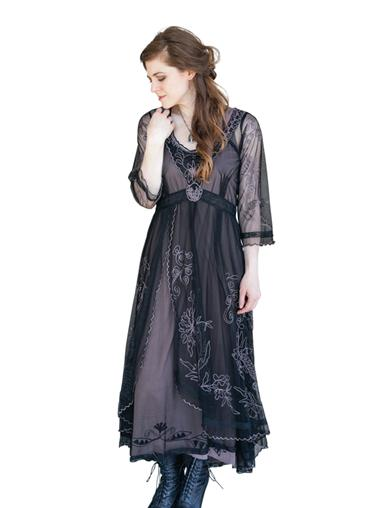 Easy DIY Edwardian Titanic Costumes 1910-1915 Tea Party Garden Dress Black 3X $249.95 AT vintagedancer.com