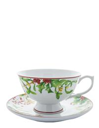 Christmas Holly Tea Cups & Saucers (Pair)