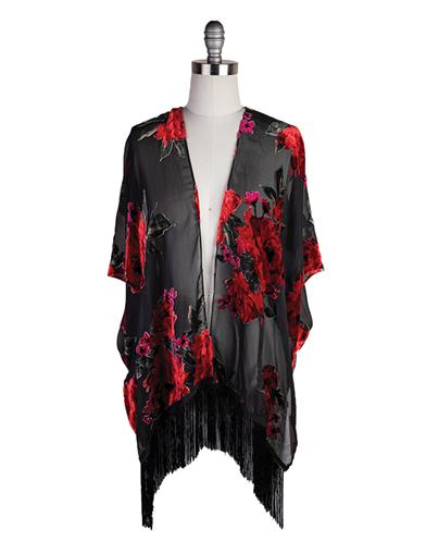 Shawls & Wraps | Vintage Lace & Fur Evening Scarves Bohemian Rose Kimono $49.95 AT vintagedancer.com